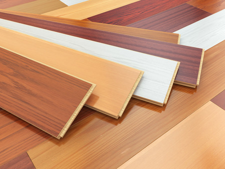 laminate: Parquet o laminate wooden planks of the different colors on the floor. 3d illustration Stock Photo