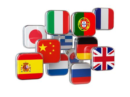 banderas del mundo: Idiomas translationor concepto traductor en línea. Banderas aislados en blanco. ilustrador 3d Foto de archivo