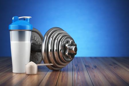 Hantel und Molkeprotein-Shaker. Sport Bodybuilding-Ergänzungen oder Ernährung. Fitness oder gesunde Lebensweise Konzept. 3D-Darstellung