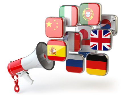 E-learning or online translator concept. Learning languages online. Megaphone and flags. 3d illustration Stock Photo