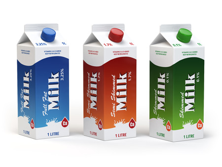 carton de leche: Milk carton packs isolated on white. Milk boxes. 3d illustration Foto de archivo