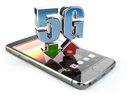 high speed internet: Mobile phone with 5G network standard communication. High speed mobile internet technology. Smartphone with text 5G isolated on white. 3d illustration