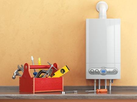 Caldaia a gas di manutenzione o concetto repearing. Toolbox con gli strumenti sulla cucina. illustrazione 3D