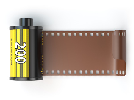 photo film: 35mm camera photo film canisters isolateed on white. 3d illustration