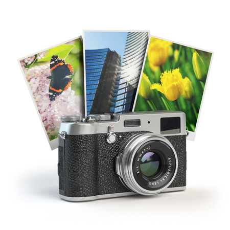 multiple exposure: Photo camera and images isolated on white. 3d illustration