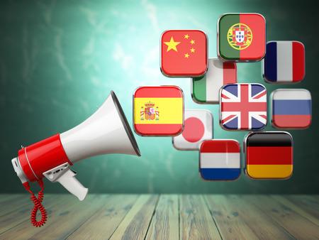 translator: E-learning or online translator concept. Learning languages online. Megaphone and flags. 3d illustration Stock Photo