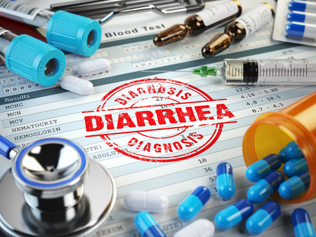 diarrhea: Diarrhea disease diagnosis. Stamp, stethoscope, syringe, blood test and pills on the clipboard with medical report. 3d illustration Stock Photo