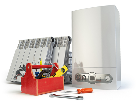 Heating system servicing or repearing concept. Gas boiler, radiators and toolbox with tools on the kitchen. 3d illustration