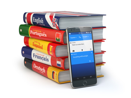 linguistics: E-learning. Mobile dictionary. Learning languages online. Smartphone with books. 3d illustration Stock Photo