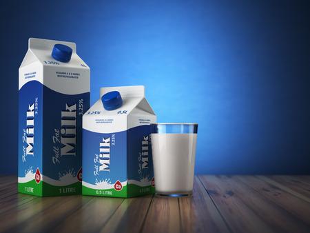 envase de leche: Vaso de leche de cartón packand sobre fondo azul. 3d ilustración Foto de archivo