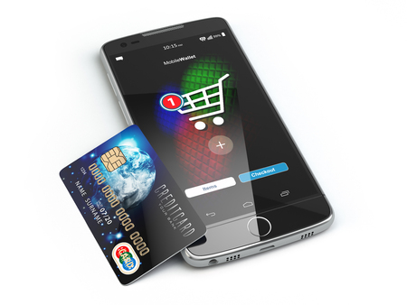 smart card: Mobile online shopping. E-commerce with smart phone and credit card isolated on white. 3d illustration