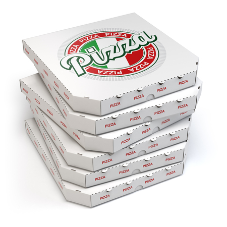 empty box: Pizza boxes stack isolated on white, 3d illustration Stock Photo