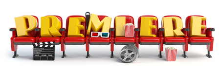 premiere: Premiere. Cinema, movie video concept. Row of seats with popcorm, glasses and clapper board isolated on white. 3d illustration Stock Photo