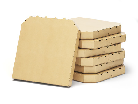 boxes stack: Pizza boxes stack isolated on white, 3d illustration Stock Photo