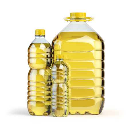 Sunflower oil in plastic bottles isolated on white. 3d illustration