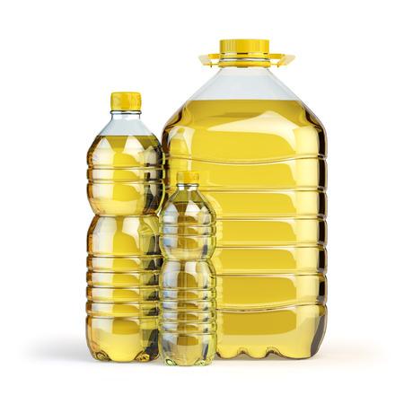 Zonnebloemolie in plastic flessen geïsoleerd op wit. 3d illustratie