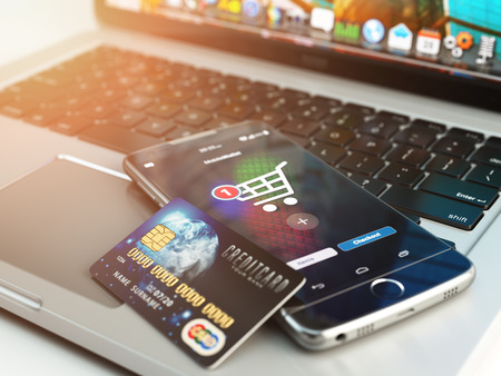 laptop mobile: Mobile banking or online shopping concept. Mobile phone and credit card on laptop background. 3d illustration Stock Photo