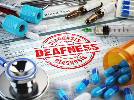 inability: Deafness disease diagnosis. Stamp, stethoscope, syringe, blood test and pills on the clipboard with medical report. 3d illustration Stock Photo