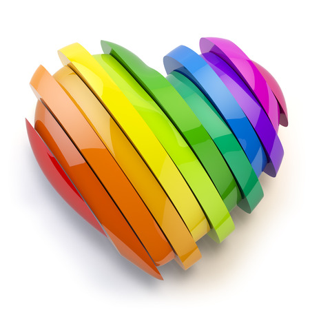 gay parade: Heart with colors of gay pride LGBT community. Homosexual relationships or gay love concept. 3d illustration