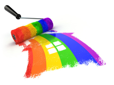 House with colors of gay pride LGBT community. Homosexual relationships or gay love concept. 3d illustration Stock Photo