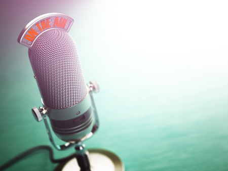 interview: Retro old microphone with text on the air. Radio show or audio podcast concept. Vintage microphone. 3d illustration Stock Photo