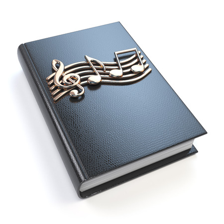 book mark: Music book with music notes and clef isolated on white background. 3d illustration