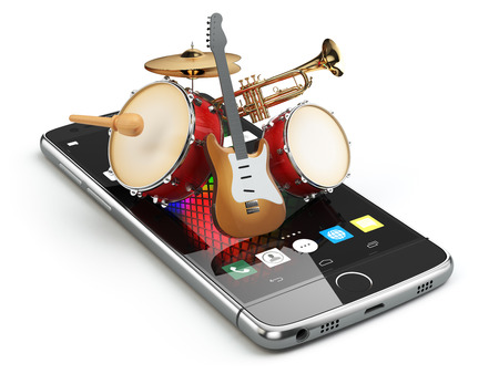 Mobile phone and musical instruments. Guitar, drums and trumpet. Digital music composer app. 3d illustration Banco de Imagens - 65586363