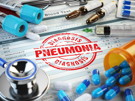 pneumonia: Pneumonia disease diagnosis. Stamp, stethoscope, syringe, blood test and pills on the clipboard with medical report. 3d illustration