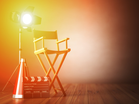 film role: Video, movie, cinema concept. Clapperboard and director chair. Film industry 3d illustration Stock Photo