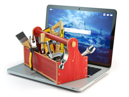 laptop repair: Online support. Laptop and toolbox with tool  isolated on white background. Laptop repair concept. 3d illustration Stock Photo