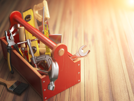 hardware tools: Support service concept. Toolbox with tools on wooden background. Construction. 3d illustration.