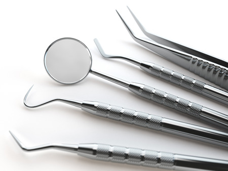 Dental tools set for teeth dental care isolated on white. Stomatology concept. 3d illustration Stock Photo