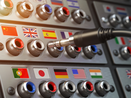 Select language. Learning, translate languages or audio guide concept. Audio input output control panel with flags and plug. 3d illustration Stock Photo