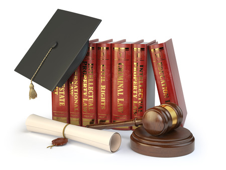 doctorate: Justice, learning different fields of law concept. Books, graduation hat,  judge gavel and diploma isolated on white. 3d illustration