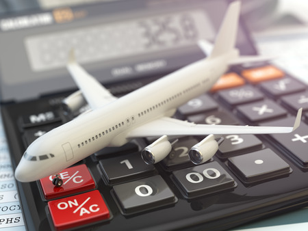 calculator money: Travel cost calculation concept. Airplane and calculator. Cheapest flight. 3d illustration