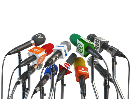 correspondent: Microphones prepared for press conference or interview isolated on white background. 3d illustration Stock Photo