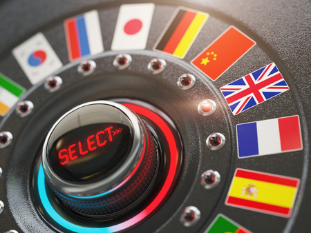 polyglot: Online learning language or choice language on the web site concept. Online translator. Switch knob button with flags. 3d illustration