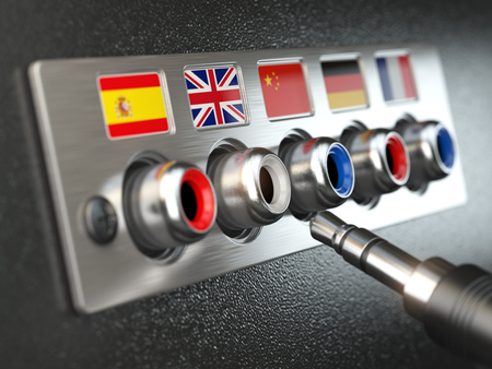 audio plug: Select language. Learning, translate languages or audio guide concept. Audio  input output control panel with flags and plug.  3d illustration