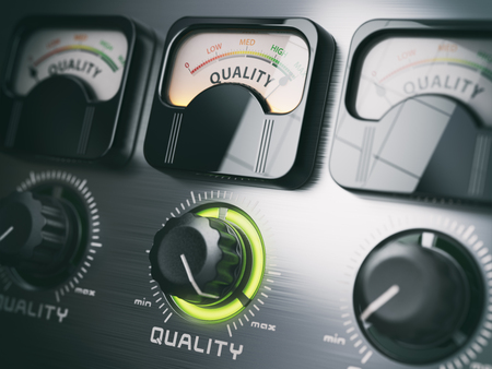 standard: Best quality concept. Quality control switch knob on maximum position. 3d illustration Stock Photo