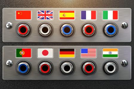 Taal selecteren. Leren, vertalen talen of audiogids concept. Audio-input output bedieningspaneel met vlaggen en plug. 3d illustratie Stockfoto