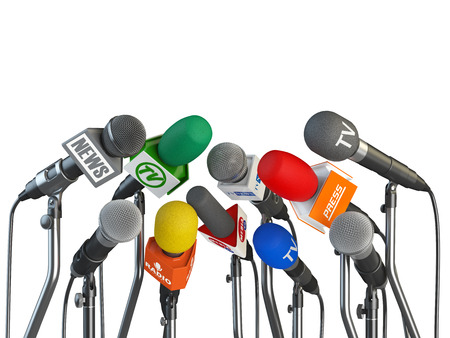 Microphones prepared for press conference or interview isolated on white background. 3d illustration Archivio Fotografico