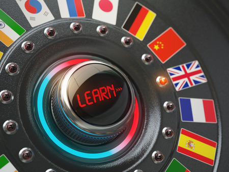 polyglot: Online learning language concept. Switch knob button with flags. 3d illustration