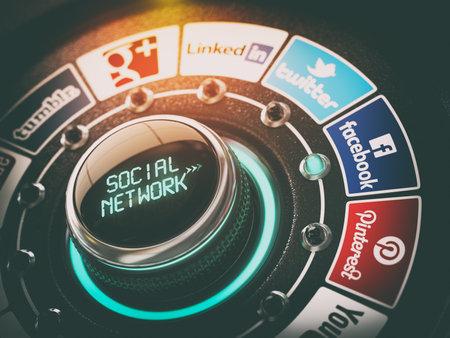 KIEV, UKRAINE - NOVEMBER 16, 2016: Social network concept. Switch knob with Facebook, Twitter, Google Plus, Instagram, LinkedIn,  YouTube, Tumblr and Pinterest. 3d illustration