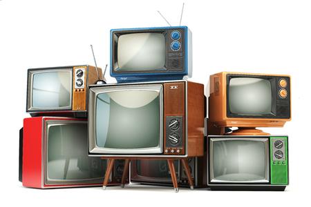 Mucchio di televisori retrò isolato su sfondo bianco. Comunicazione, media e concetto di televisione. illustrazione 3D Archivio Fotografico