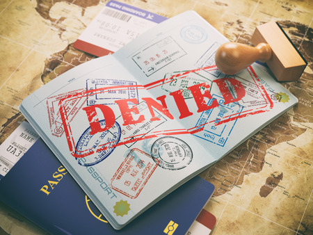 Passport with denied visa stamp on the map of the world and airline boarding pass tickets..Travel concept. 3d illustration