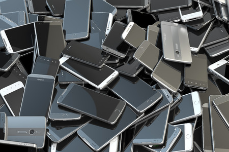 Heap of different smartphones. Mobile phone technology concept background. 3d illustration 스톡 콘텐츠