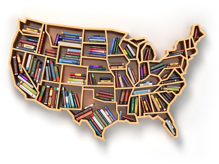 book concept: USA education or market of books concept. Book shelf  as map of USA. 3d illustration
