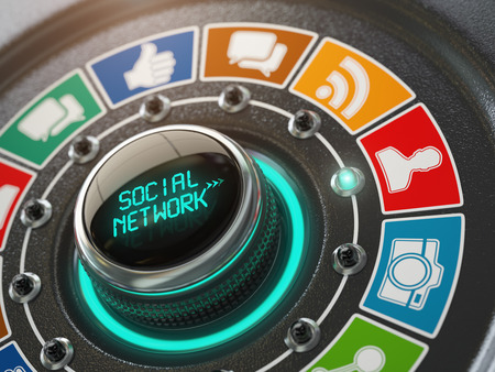 Social network and media concept. Switch knob with social network icons.  3d illustration