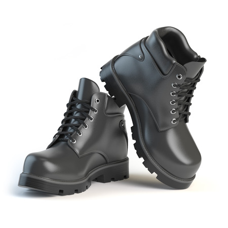 foot soldier: Pair of black boots isolated on white background. 3d illustration