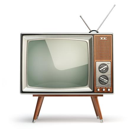 Aparato de TV retro aislado en el fondo blanco. Concepto de comunicación, medios y televisión. 3d ilustración Foto de archivo